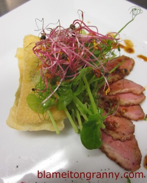 DUCK BREAST WITH WONTON FRITTERS & GUACAMOLE