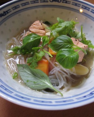 Glass Noodle Soup With Salmon