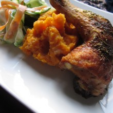 Rosemary Chicken With Mashed Sweet Potato and Carrot Cucumber Strips